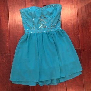Turquoise chiffon summer dress